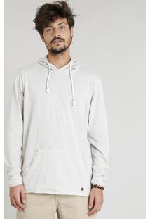Camiseta Masculina Botonê Com Capuz Com Bolso Canguru Manga Longa Bege Claro