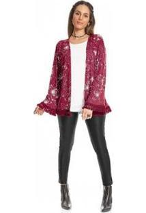 Kimono Rovitex Estampado Feminino - Feminino-Vermelho