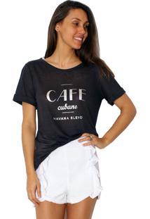 Camiseta Tea Shirt Café Preta
