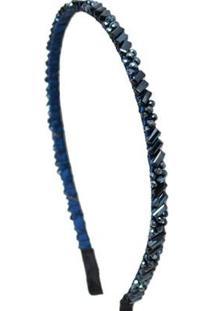 Tiara Bordada Ania Store Cristal Warwick Feminina - Feminino-Azul