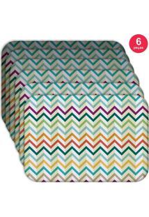 Jogo Americano Love Decor Wevans Retro Zig Zag Colorful Kit Com 6 Pçs