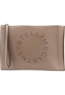 Stella Mccartney Clutch Com Logo Stell - Neutro