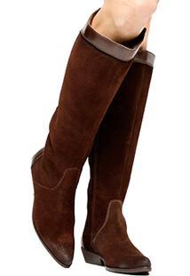 Bota Couro Cano Longo Shoestock Flat Mix Materiais Feminino - Feminino-Marrom