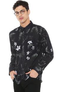 Camisa John John Reta Tropical Preta