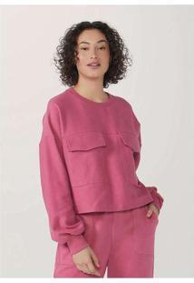 Blusão Feminino Modelagem Box Em Algodão Rosa