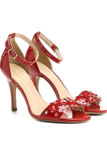 Sandália Shoestock Salto Fino Flores Feminina - Feminino-Vermelho