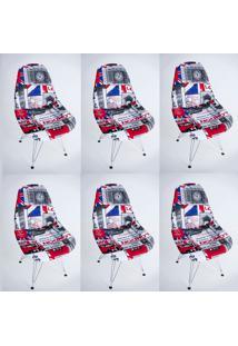 Kit Com 06 Capas Para Cadeira Base Madeira Eiffel Wood Londres - Kanui