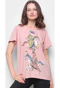 Camiseta Colcci Básica Estampada Feminina - Feminino-Rosa