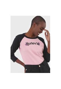 Camiseta Hurley Raglan O&O Rosa