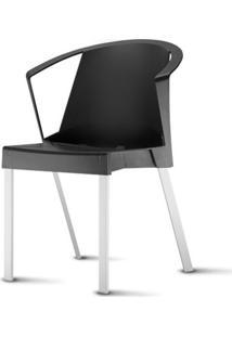 Cadeira Shine Assento Preto Com Bracos Base Aluminio Cinza - 54059 - Sun House
