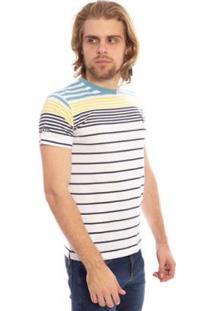 Camiseta Aleatory Listrada Hang Masculina - Masculino-Branco+Amarelo