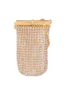 Versace Bolsa Quadrada Com Aplicação De Cristais - Dourado