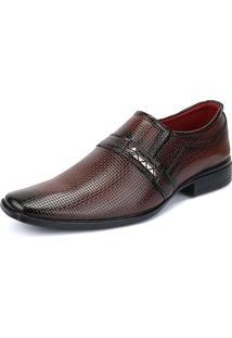 Sapato Social Rebento Envernizado Com Textura Vinho