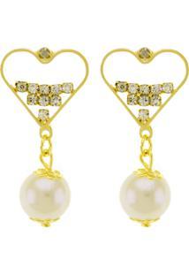 Brinco Horus Import Coração Cristal Banhado Em Ouro Amarelo 18 K - 1030021