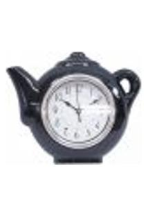 Relógio De Parede Cozinha Modelo Bule Chaleira Silencioso Preto
