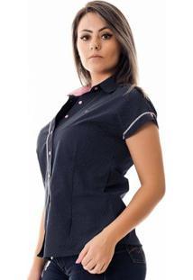 Camisa Pimenta Rosada Da Poá Etienne - Feminino-Azul+Branco