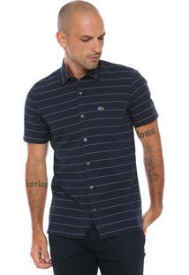 Camisa Lacoste Slim Listras Azul-Marinho