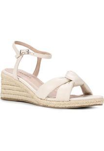 Sandália Anabela Shoestock Couro Corda Feminina - Feminino-Off White