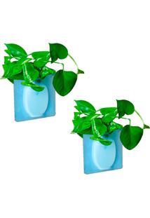 Kit Com 2 Vasos Adesivos De Silicone Para Parede Flor Planta Decoração - Kanui