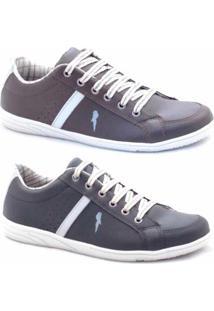 Slip-On Casual Polo Blu Masculino - Masculino-Marrom+Preto