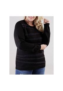 Blusa Tricot Plus Size Feminina Preto