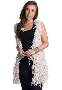 Colete Kam Bess Feminino De Lã Branco
