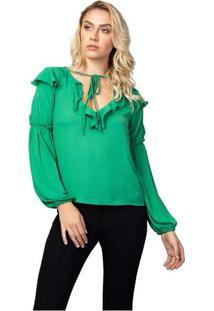 Blusa Feminina Ml Babados Verde