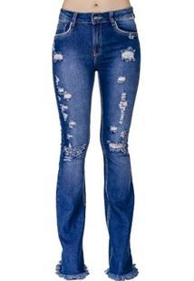 Calça Jeans Flare Destroyed Handbook Feminina - Feminino-Azul Escuro