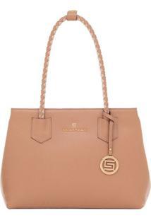 Bolsa Smart Bag Couro Bicolor - Feminino-Bege
