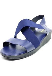 Sandalia Confort Anabela Elastico Dani K Azul