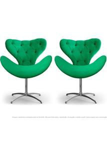 Kit De 02 Cadeiras Decorativas Poltronas Egg Com Capitonê Verde Com Base Giratória
