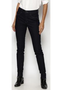 Jeans Skinny Com Tag - Azul Escuro- Tuaregtuareg