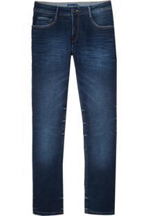 Calça Dudalina Jeans Washed Blue Cross Masculina (Jeans Escuro, 40)