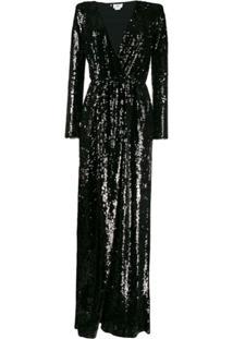 Elisabetta Franchi Vestido Decote Em V Com Paetês - Preto