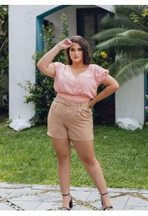 Blusa Cropped Almaria Plus Size Peri Rosa
