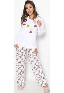 Pijama Manga Longa & Calã§A- Branco & Marrom Clarosonhart