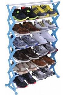 Sapateira Regulavel Com 7 Andares Suporta Ate 21 Pares De Sapatos Na Cor Azul