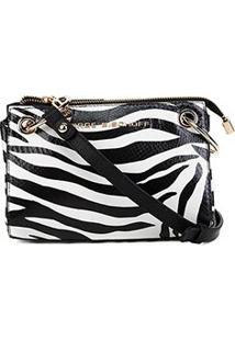 Bolsa Clutch Jorge Bischoff Transversal Zebra Feminina - Feminino-Preto+Branco