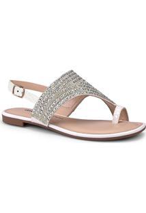 Sandália Rasteira Feminina Dakota Brilho Dedo Conforto Moda Fashion Lançamento Comfort Moda Pedraria