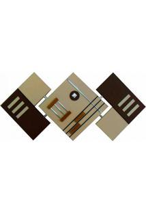 Quadro Artesanal Abstrato Losango 65X125Cm Marrom Uniart