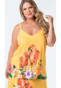 Regata Almaria Plus Size Munny Estampada Amarelo