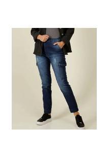 Calça Jeans Feminina Skinny Cargo Puídos