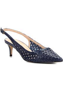 Scarpin Couro Shoestock Salto Médio Tressê - Feminino-Marinho