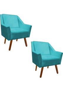 Kit 02 Poltrona Decorativa Ana Suede Azul Tiffany - D'Rossi
