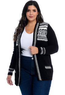 Casaco Maxi Cardigan Dianna Plus Size Preto Étnico