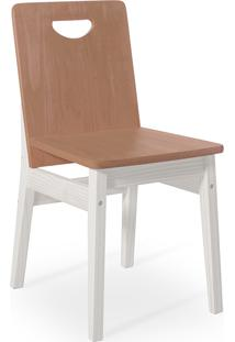 Cadeira Jantar De Madeira Tucupi 40X51X81Cm - Acabamento Stain Branco E Nozes