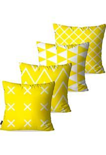 Kit Com 4 Capas Para Almofadas Pump Up Decorativas Amarelo Geométrico 45X45Cm