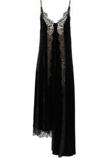 Stella Mccartney Vestido De Veludo E Renda Em Seda - Preto