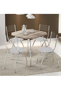 Mesa 1504 Nogueira Cromada Com 4 Cadeiras 146 Fantasia Branco Carraro