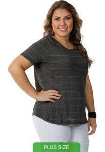 Blusa Feminino Plus Size Cinza Escuro